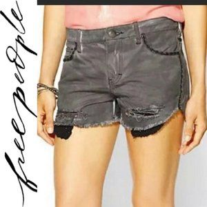 Free People Dolphin Hem Distressed Gray Wash Short